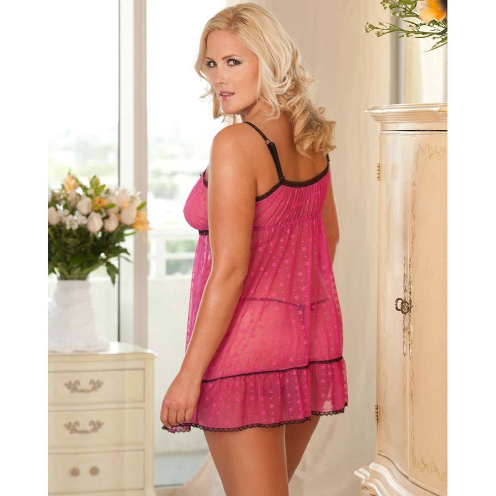 Flower Mesh Empire Style Babydoll and Panty Plus Size Pink - View #2