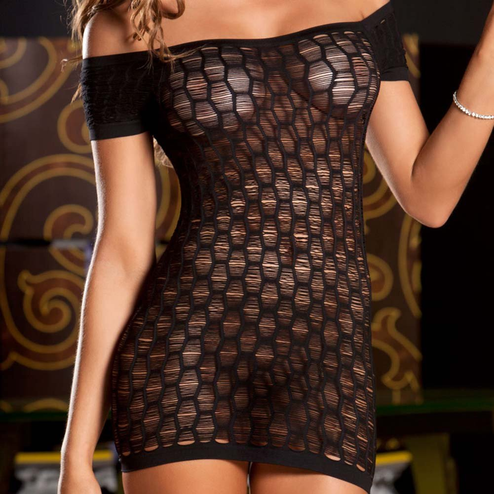 Seamless Shredded Mini Dress One Size Black - View #3