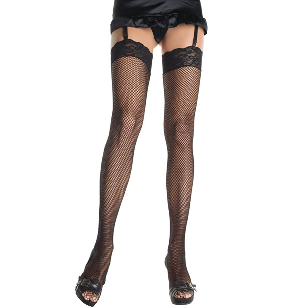 Fishnet Lace Top Thigh High Stockings Black - View #1