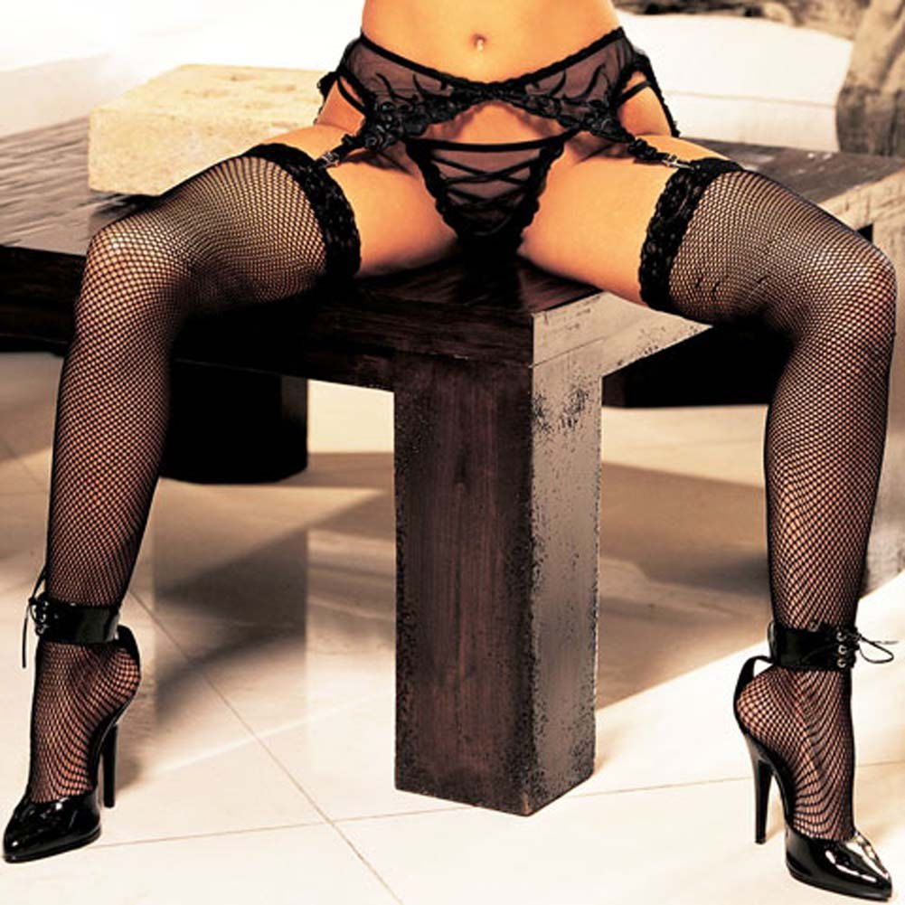 Fishnet Lace Top Thigh High Stockings Black - View #3