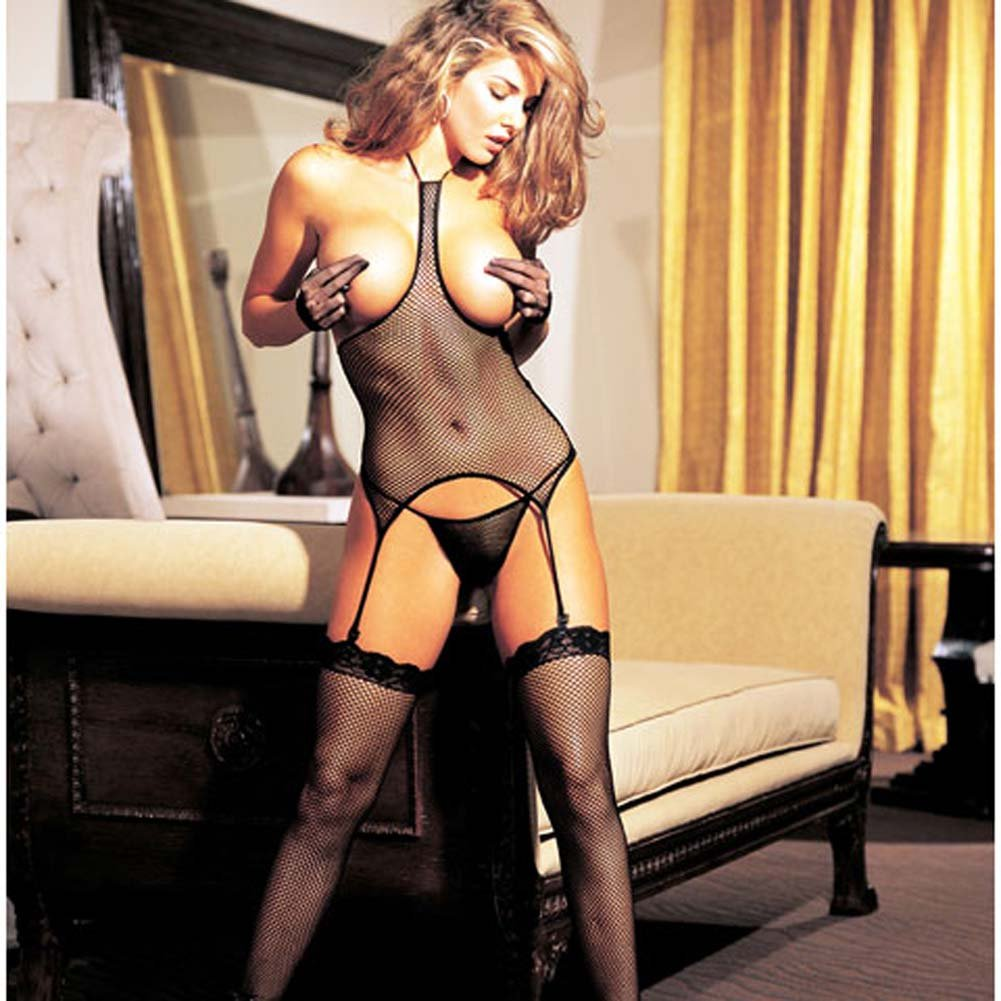 Fishnet Open Bust 3 Pc Set Camisole G-String and Stockings - View #2