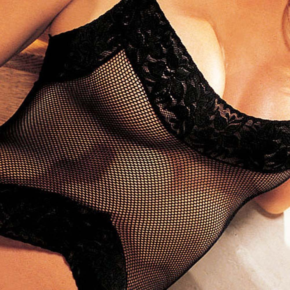Fishnet and Lace 3 Pc Set Babydoll G-String Stockings Black - View #3