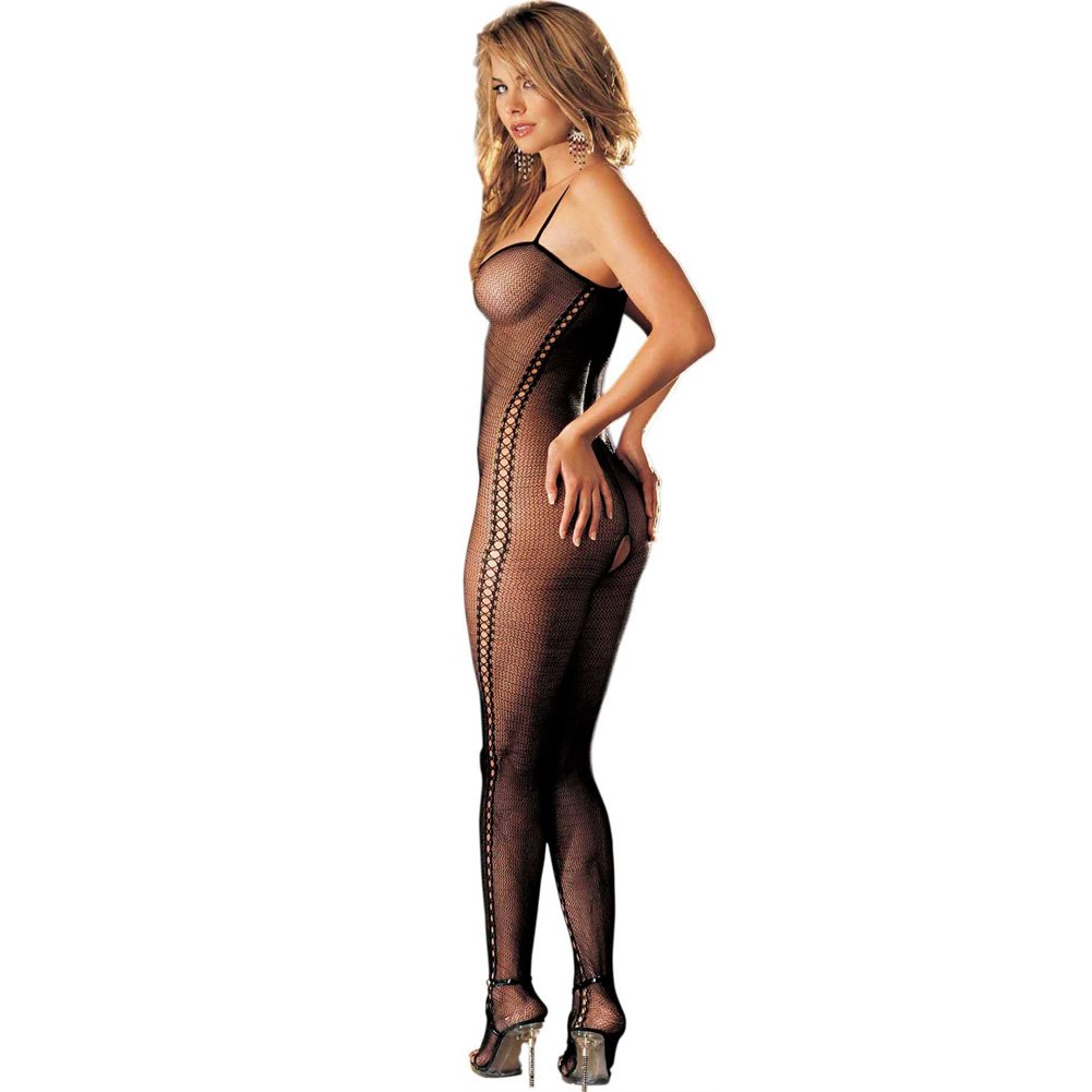 Stretch Fishnet Bodystocking with Criss Cross Front One Size Black - View #2