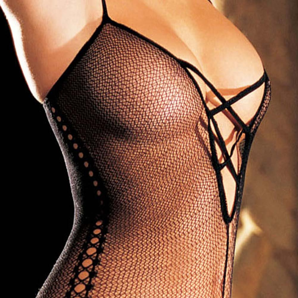 Stretch Fishnet Bodystocking with Criss Cross Front One Size Black - View #4