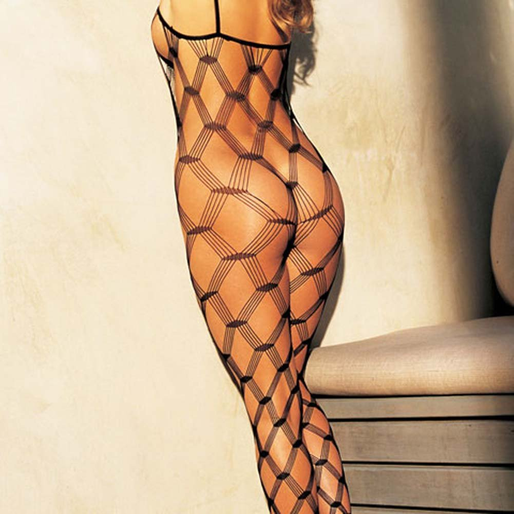 Big Open Diamond Patterned Fishnet Bodystocking Black - View #1