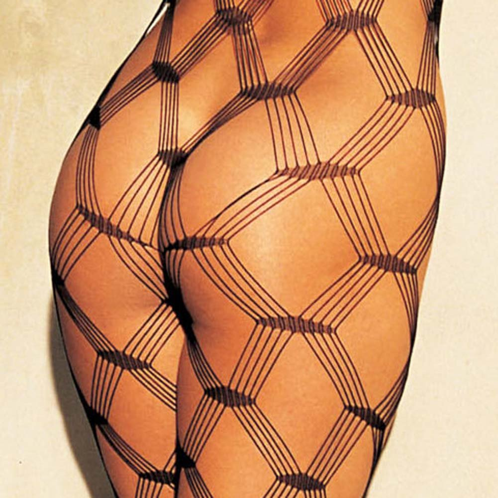 Big Open Diamond Patterned Fishnet Bodystocking Black - View #3