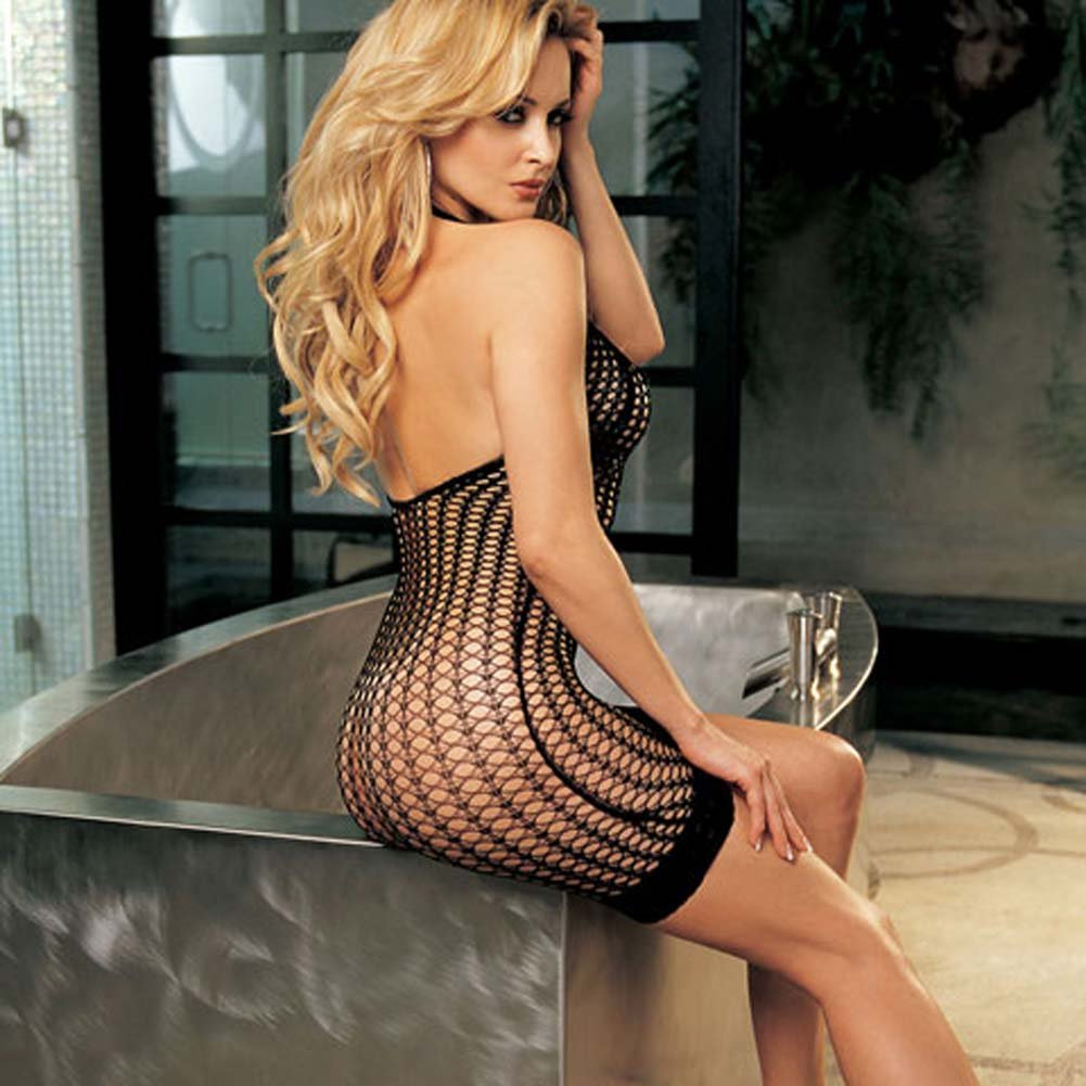 Stretch Honeycomb Fishnet Dress with Stretch Lace Hem Black - View #2