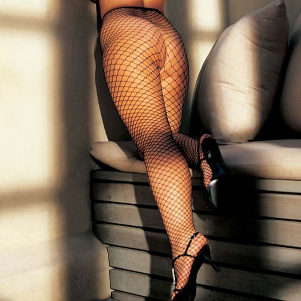 Stretch Big Hole Fishnet Pantyhose Black Plus Size - View #1