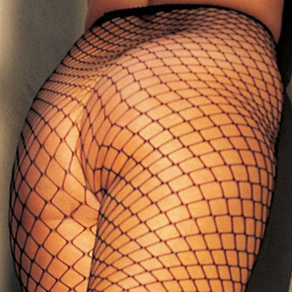 Stretch Big Hole Fishnet Pantyhose Black Plus Size - View #3