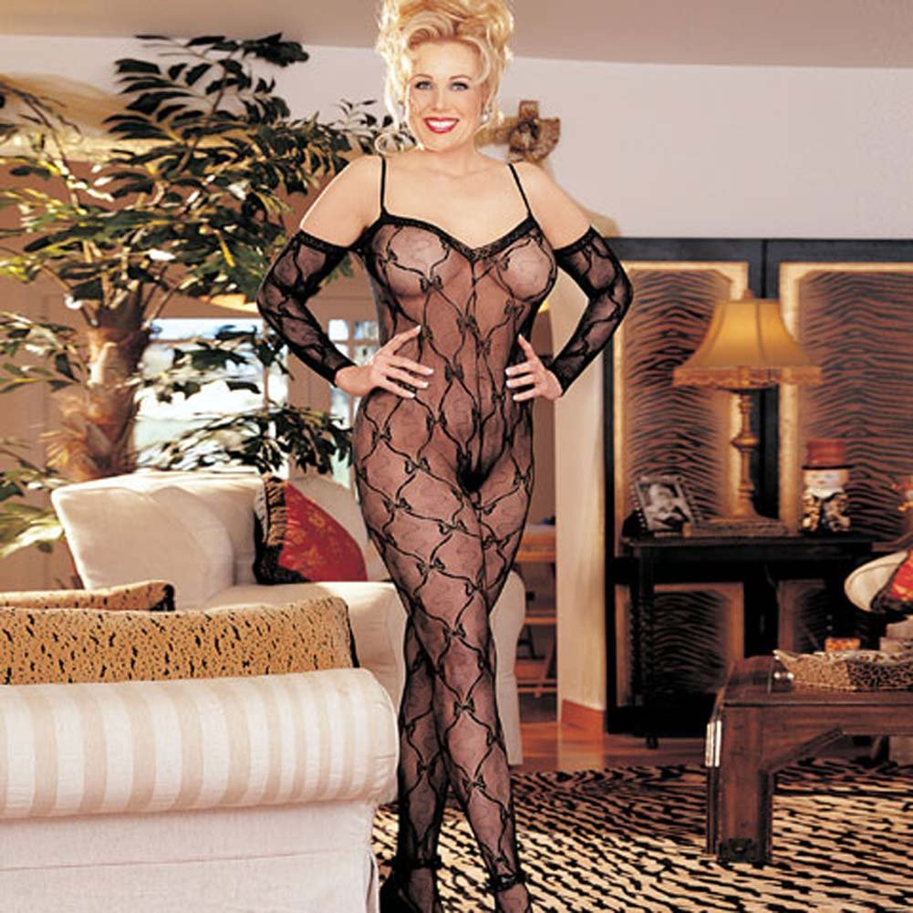 Stretch Lace Bodystocking Open Front Black Plus Size - View #2
