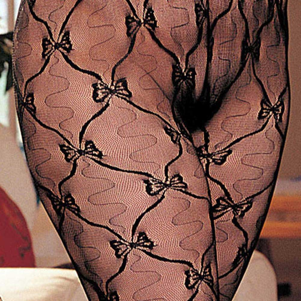 Stretch Lace Bodystocking Open Front Black Plus Size - View #4