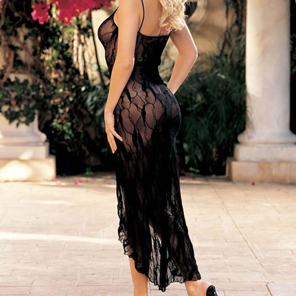 Stretch Lace Long Gown Black - View #1