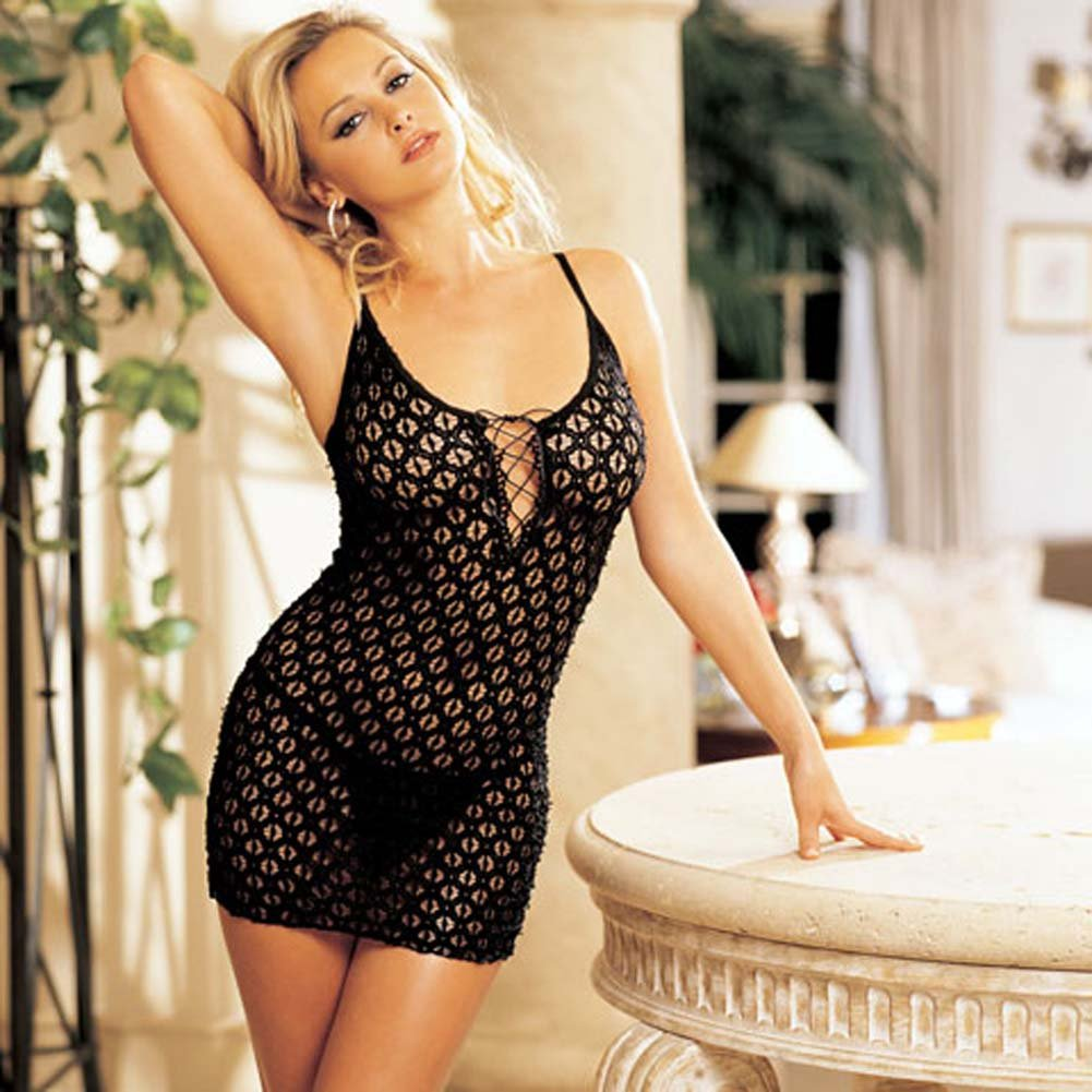 Re Embroidered Stretch Chemise with G-String Set Black - View #2