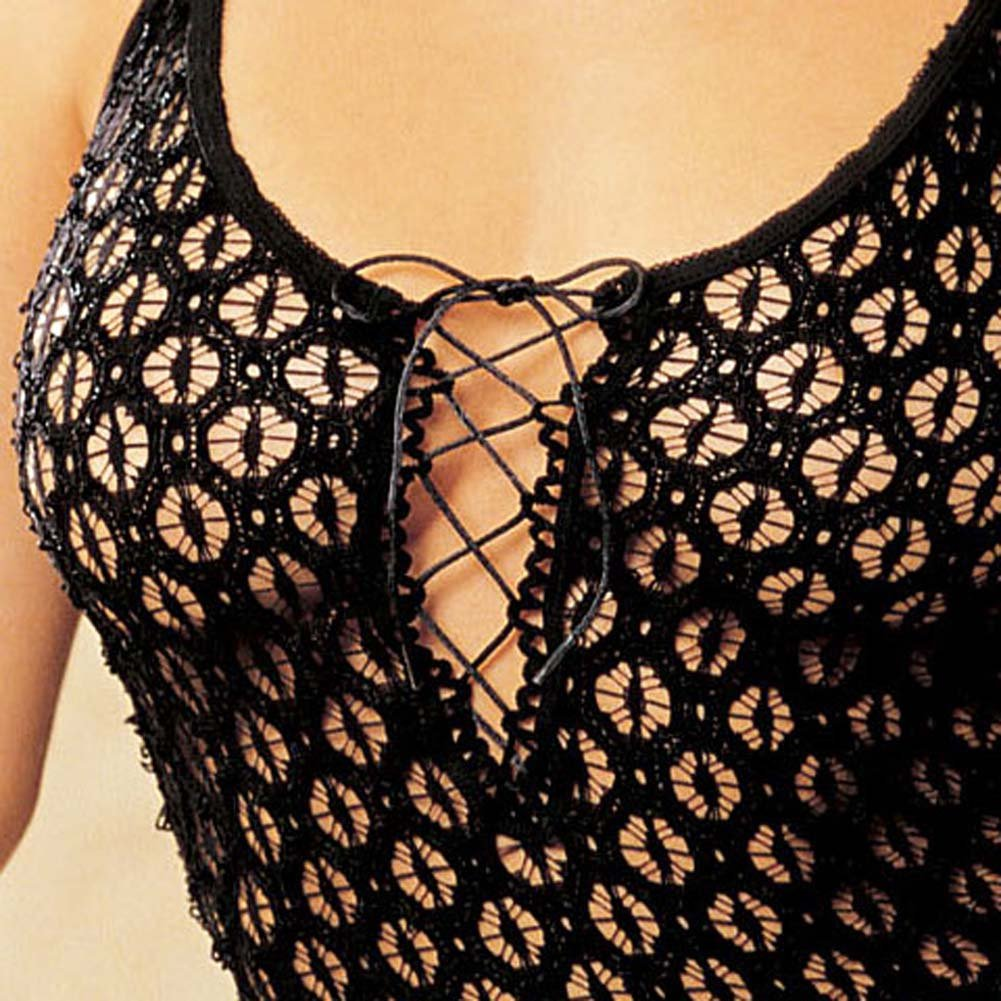 Re Embroidered Stretch Chemise with G-String Set Black - View #4