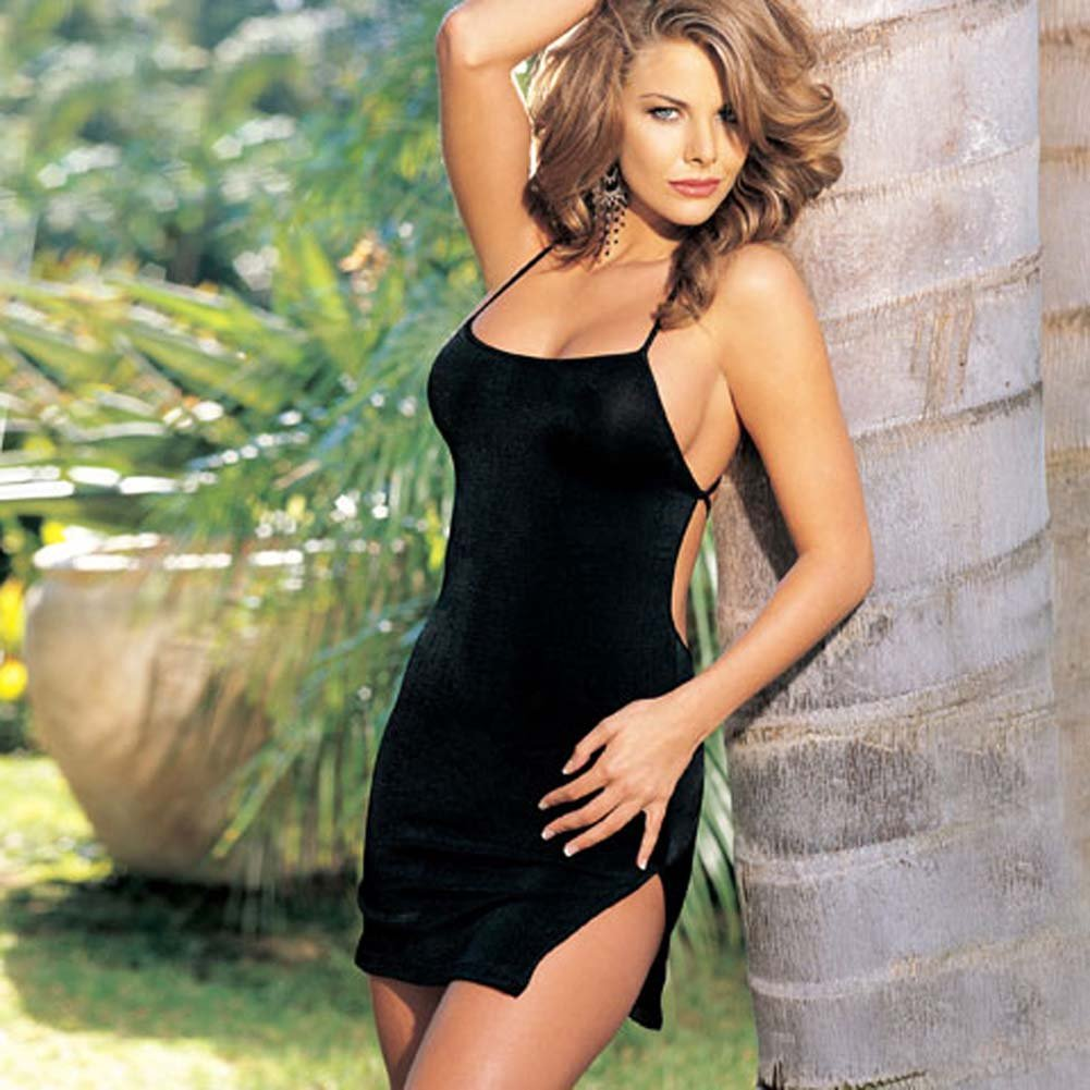 Slinky Mini Dress with Back Tie Black - View #1