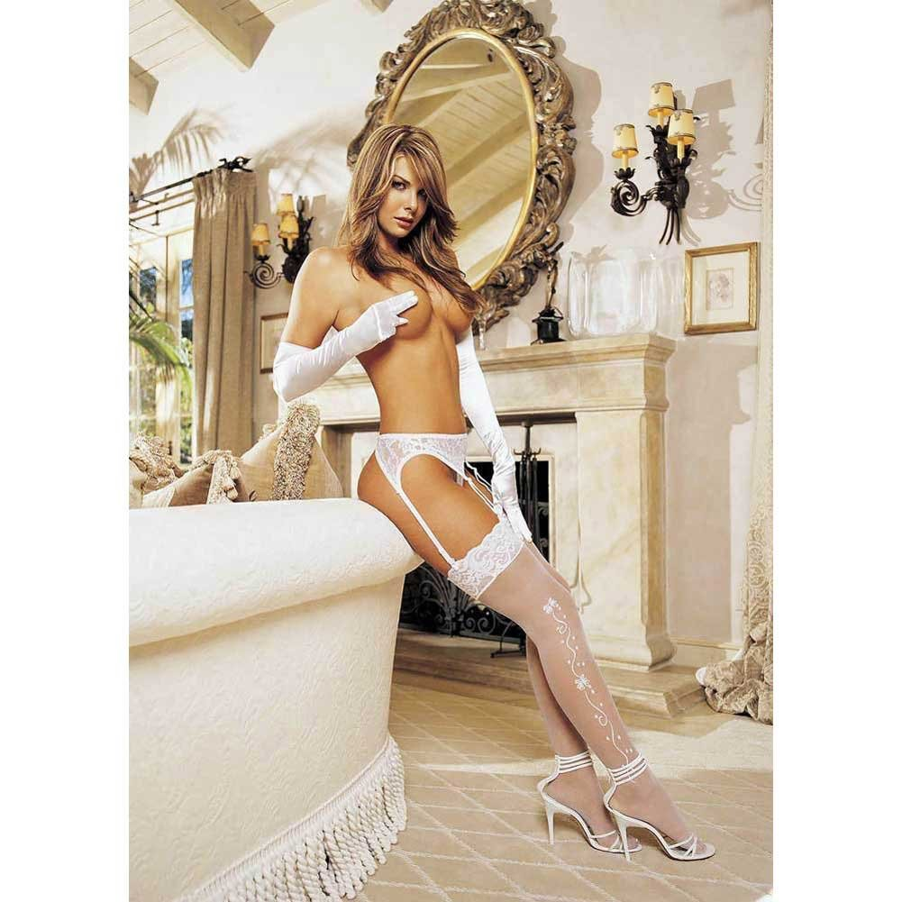Shirley Of Hollywood Wedding Bell Sheer Lace Top Stockings One Size White - View #4