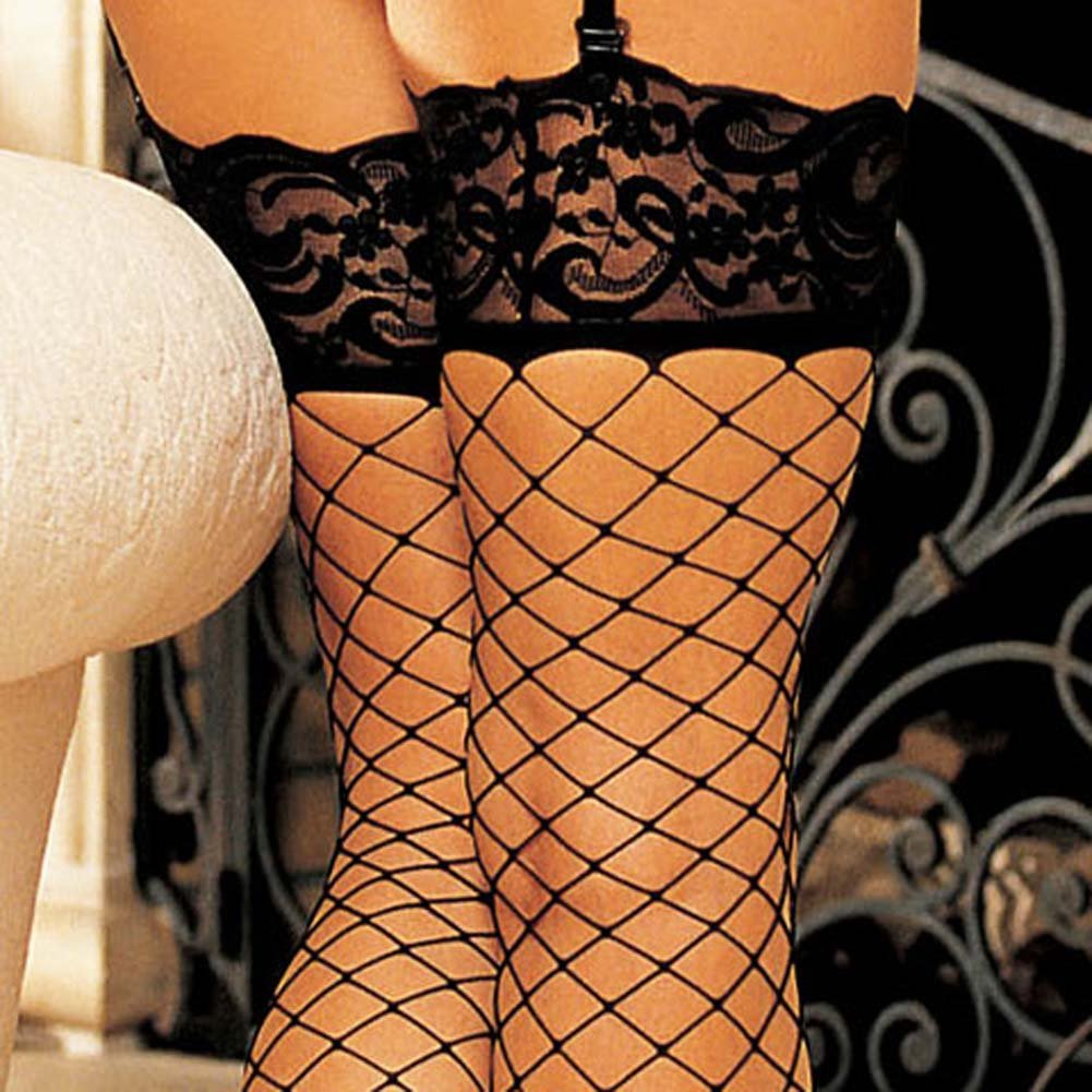 Wide Top Lace Large Net Stockings Black - View #4