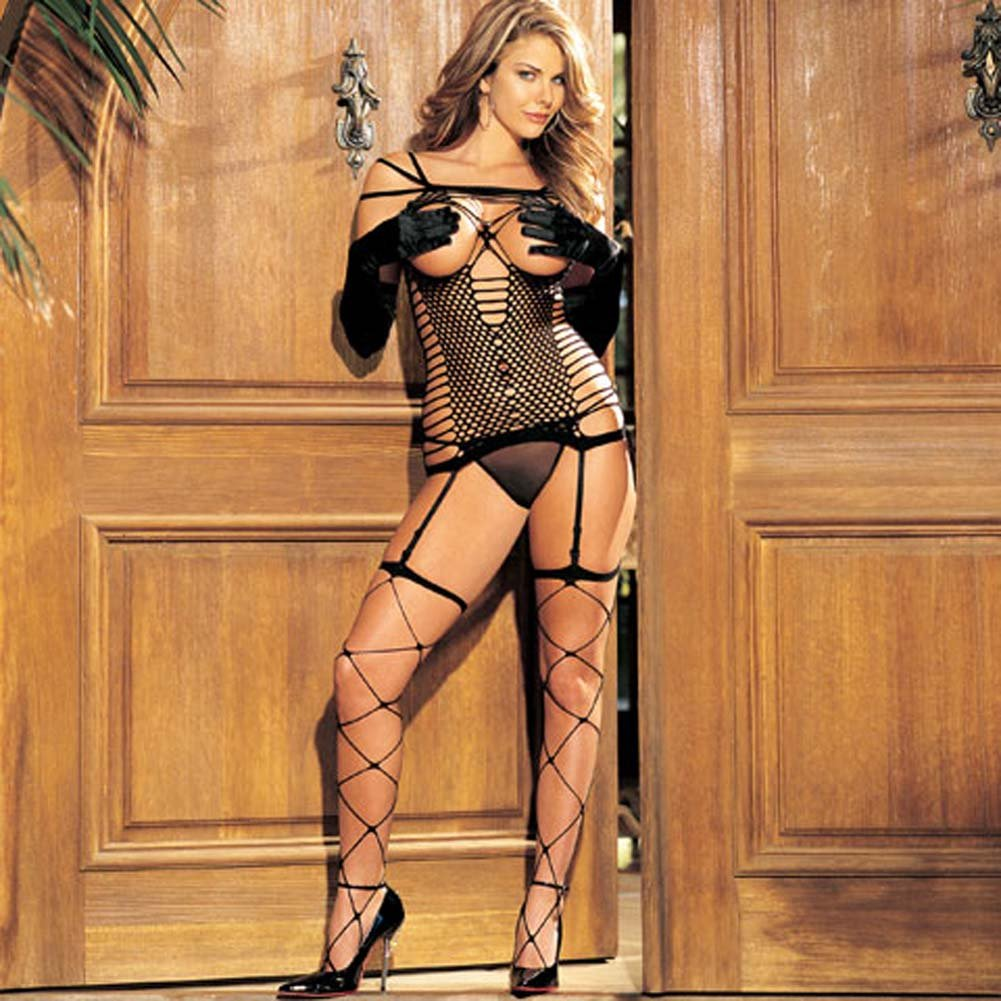 Wicked Webbing Open Bust Cami Garter 3 Piece Set - View #1