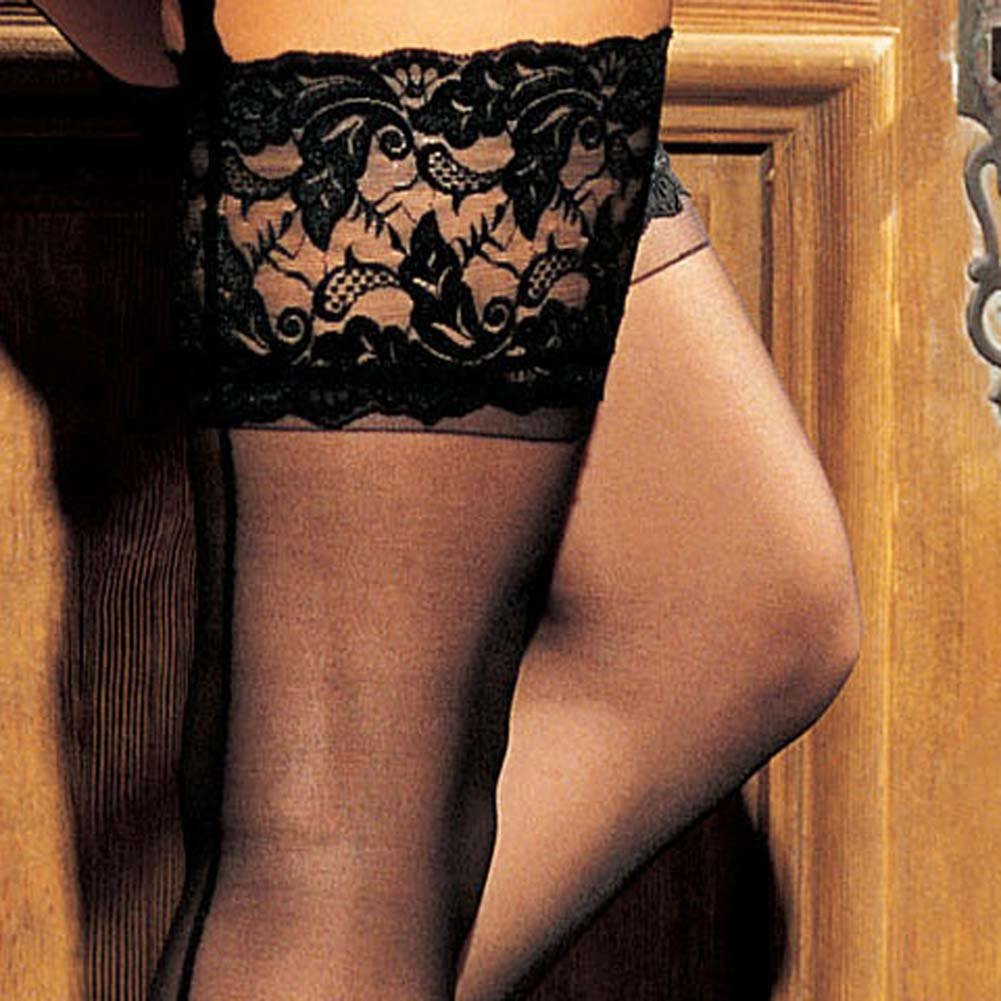 Lace Garter Belt and Wide Lace Top Stockings Set Black - View #4
