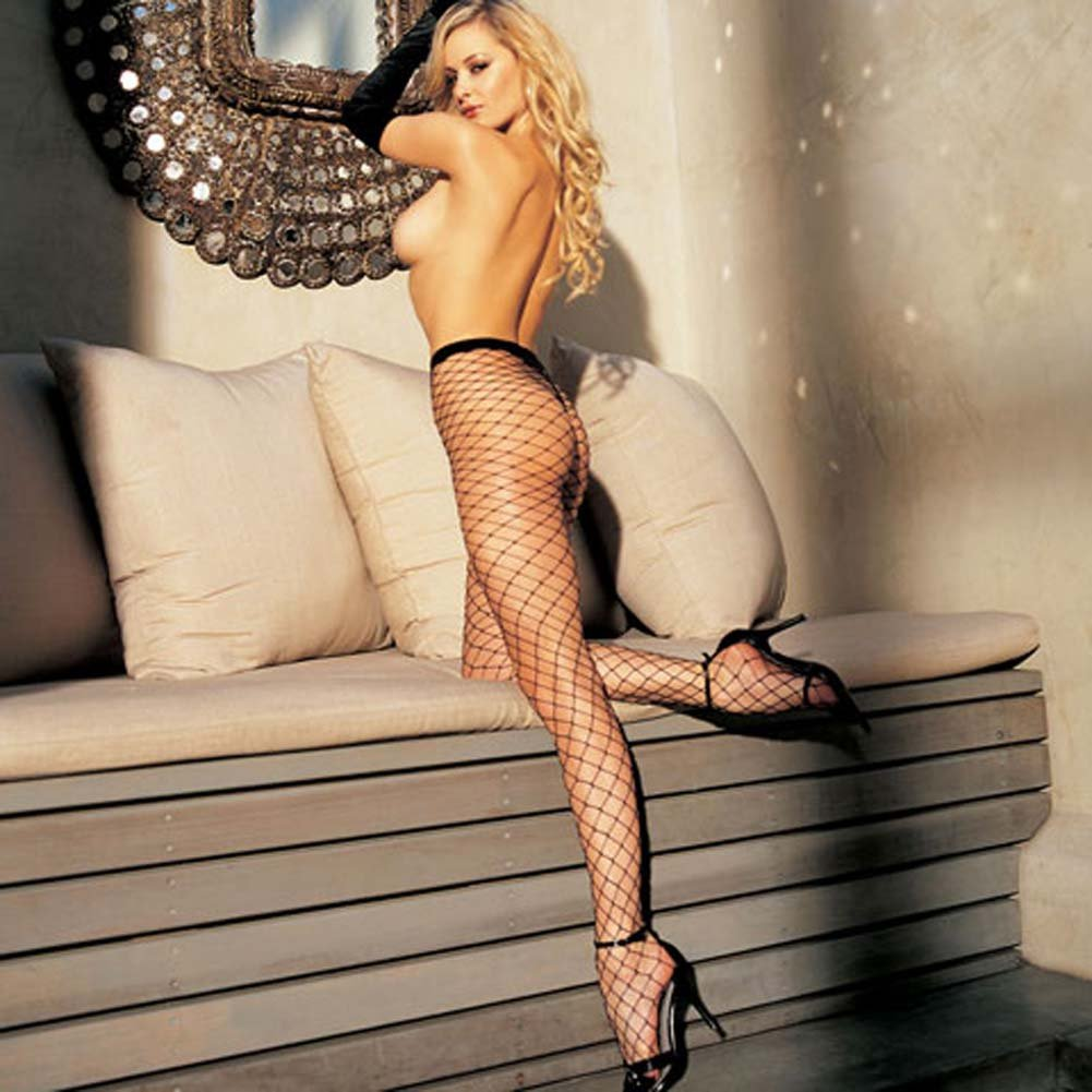 Stretch Big Hole Fishnet Pantyhose Black - View #2