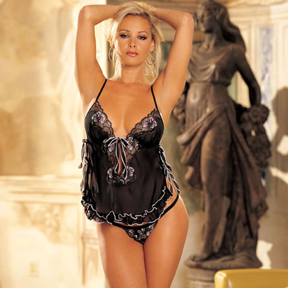 Flattering Chiffon Lace Babydoll with G-String Large - View #2