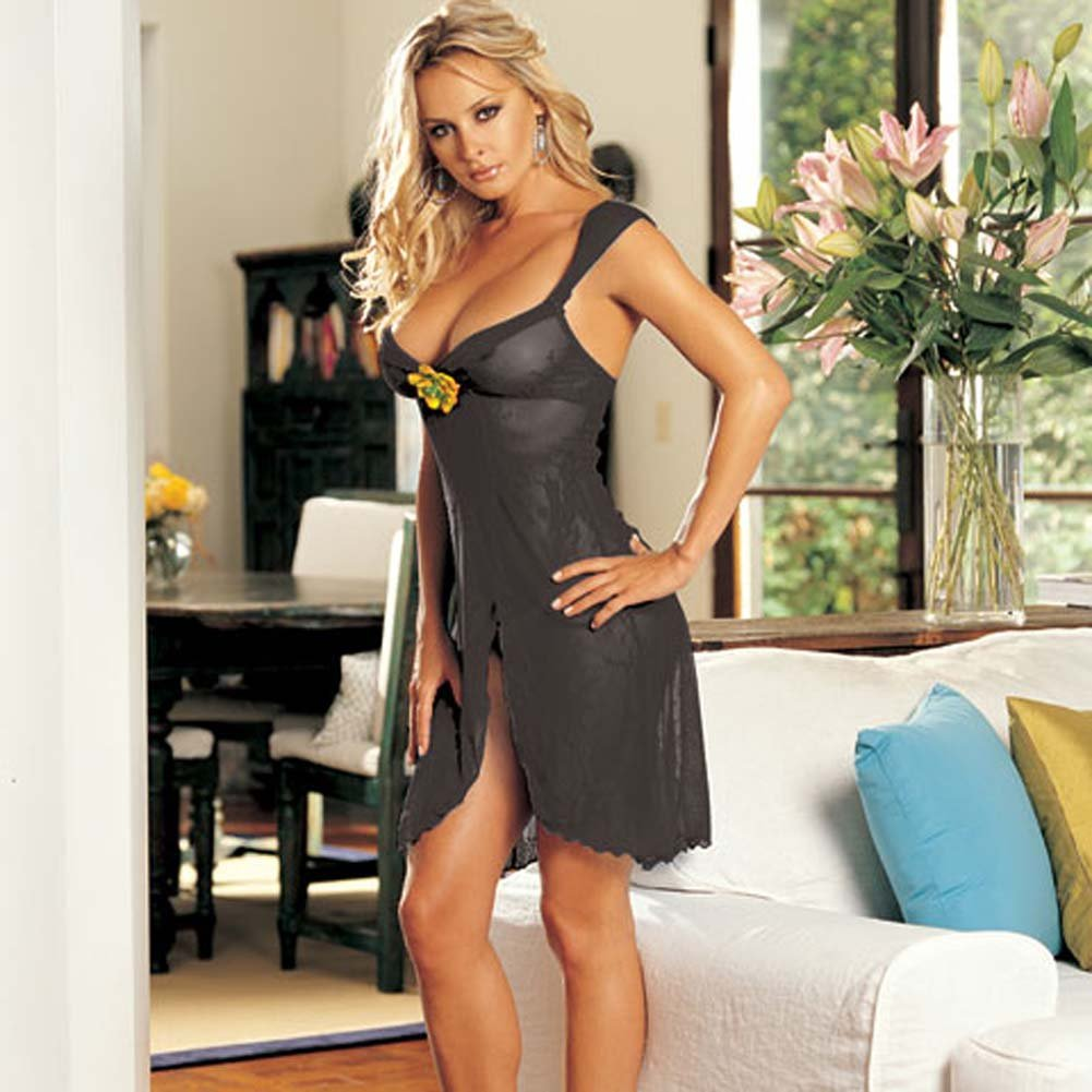 Floral Accent Stretch Lace Gown and G-String Black - View #2