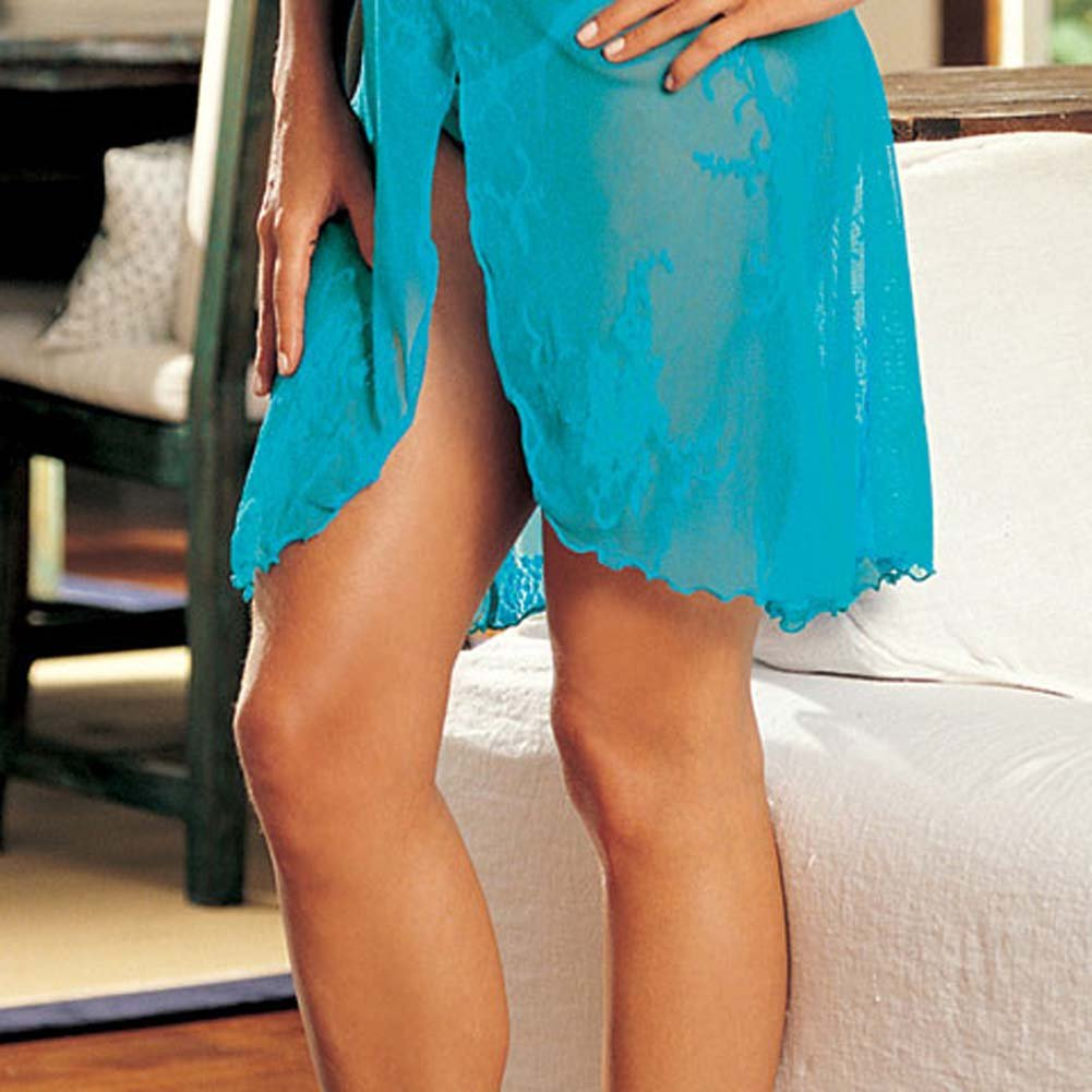 Floral Accent Stretch Lace Gown and G-String Turquoise - View #4