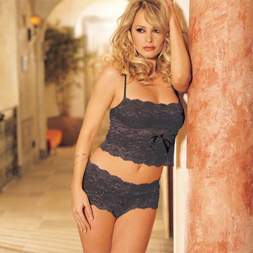 Elegant Floral Lace Camisole and Boy Short Set Black L/XL - View #2