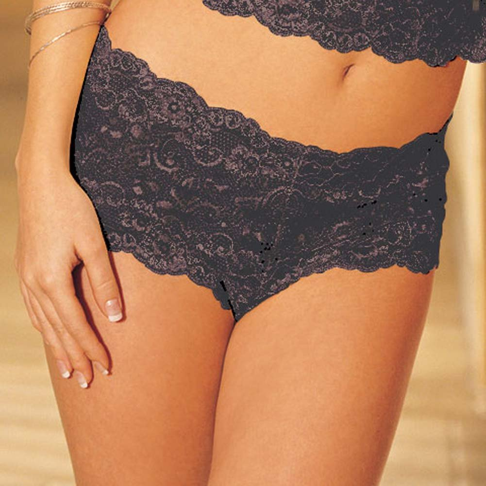 Elegant Floral Lace Camisole and Boy Short Set Black L/XL - View #4
