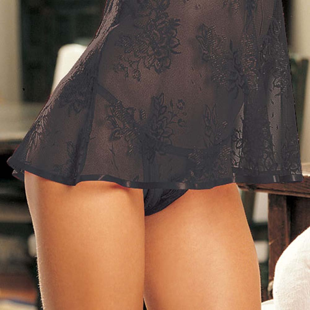 Flirty Lace Babydoll and G-String Black - View #4