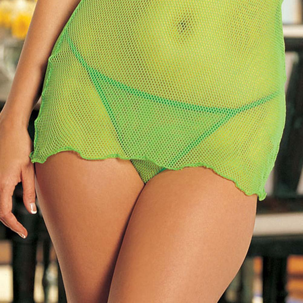 Come Closer Mesh Chemise and G-String Set Lime - View #4