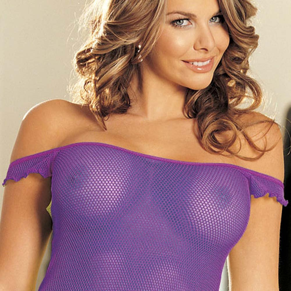 Come Closer Mesh Chemise and G-String Set Plum - View #3