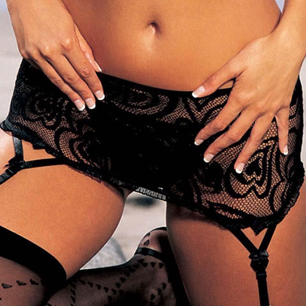 Heart Lace Bra Skirtini G-String 3 Pc Set Black Size Large - View #4