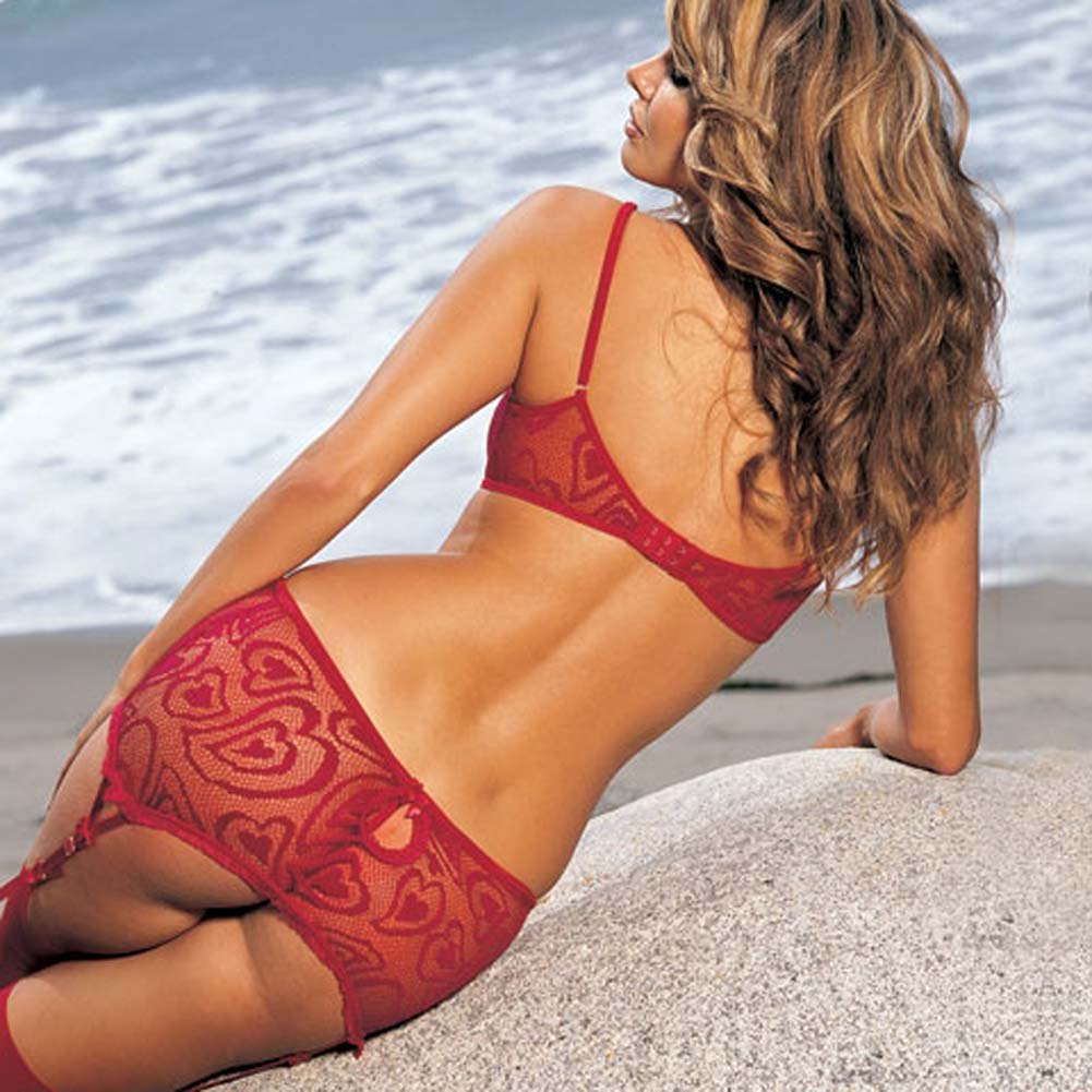 Alluring Heart Lace Bra Skirtini G-String 3 Pc Set Medium Red - View #2