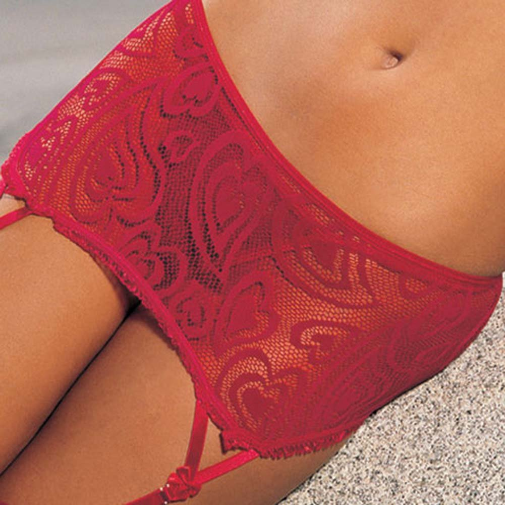 Alluring Heart Lace Bra Skirtini G-String 3 Pc Set Medium Red - View #4