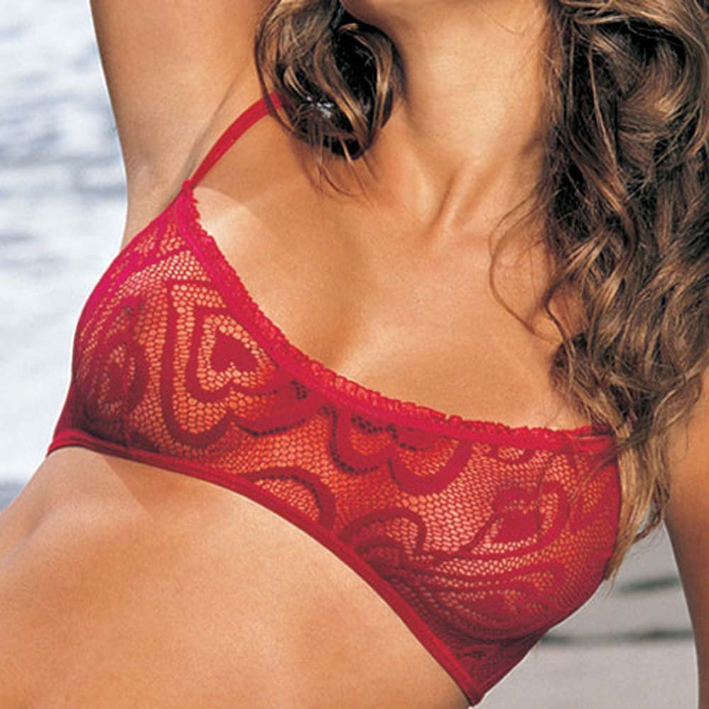 Alluring Heart Lace Bra Skirtini G-String 3 Pc Set Large Red - View #3
