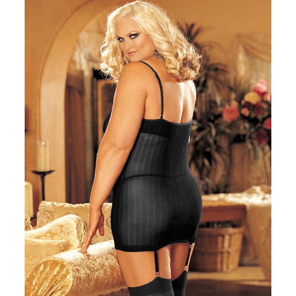 Striped Mesh and Lace Chemise with G-String Plus Size 2X - View #2