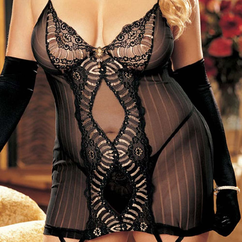 Striped Mesh and Lace Chemise with G-String Plus Size 2X - View #4