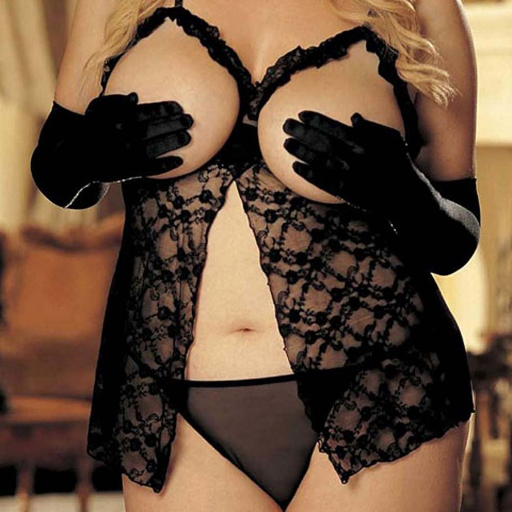 Open Bust Lace Babydoll and G-String Set Black Plus Size - View #4