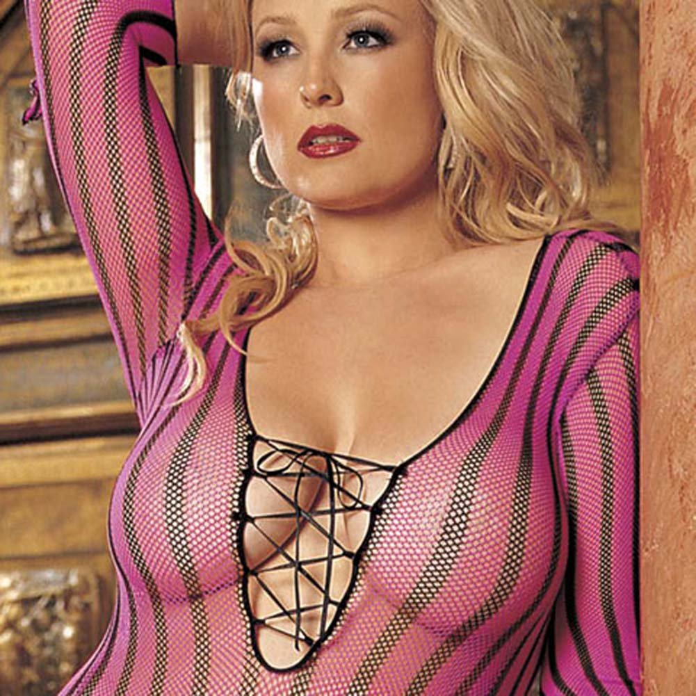 Striped Fishnet Dress Plus Size Pink - View #3