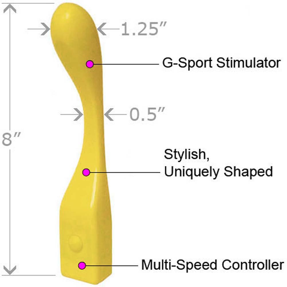 "Natural Contours Liberte G-Spot Vibrator 8"" Yellow - View #1"