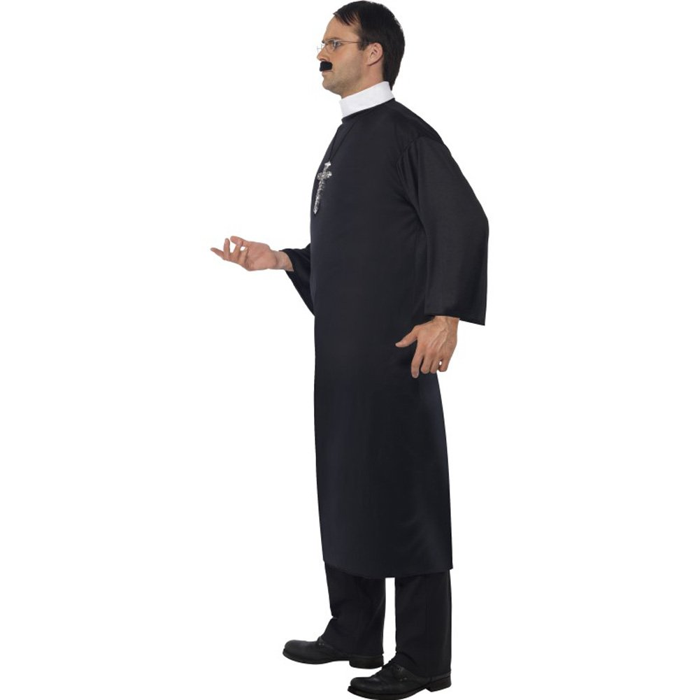 Smiffys Priest Costume with Long Robe and Collar Large Black - View #2
