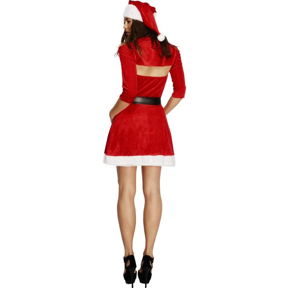 Fever Santa Babe Costume with Shrug Belt and Hat Red Medium - View #2