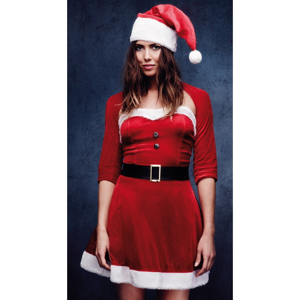 Fever Santa Babe Costume with Shrug Belt and Hat Red Medium - View #4