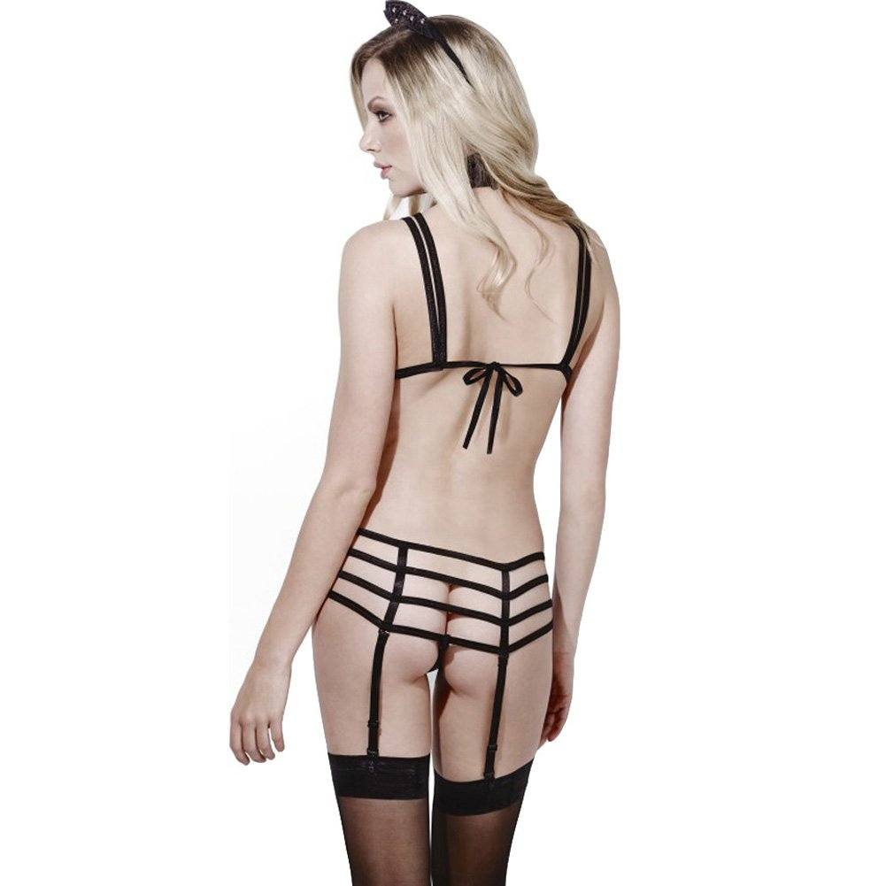 Fever Feline Purrfect Sultry Lingerie Set with Collar and Ears Flirty Black Medium - View #2