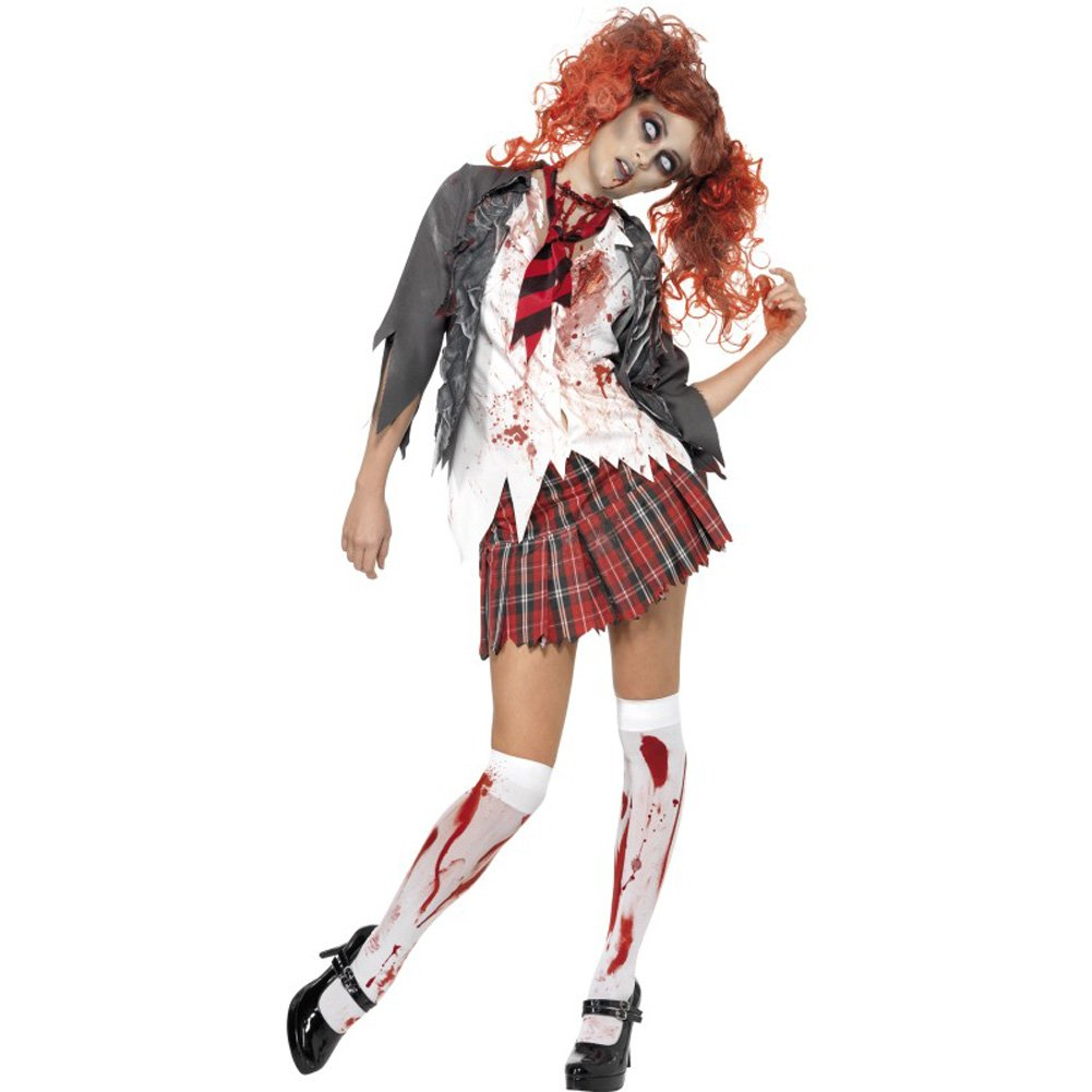 Smiffys High School Horror Zombie Schoolgirl Costume Gray/Red/White Large - View #1