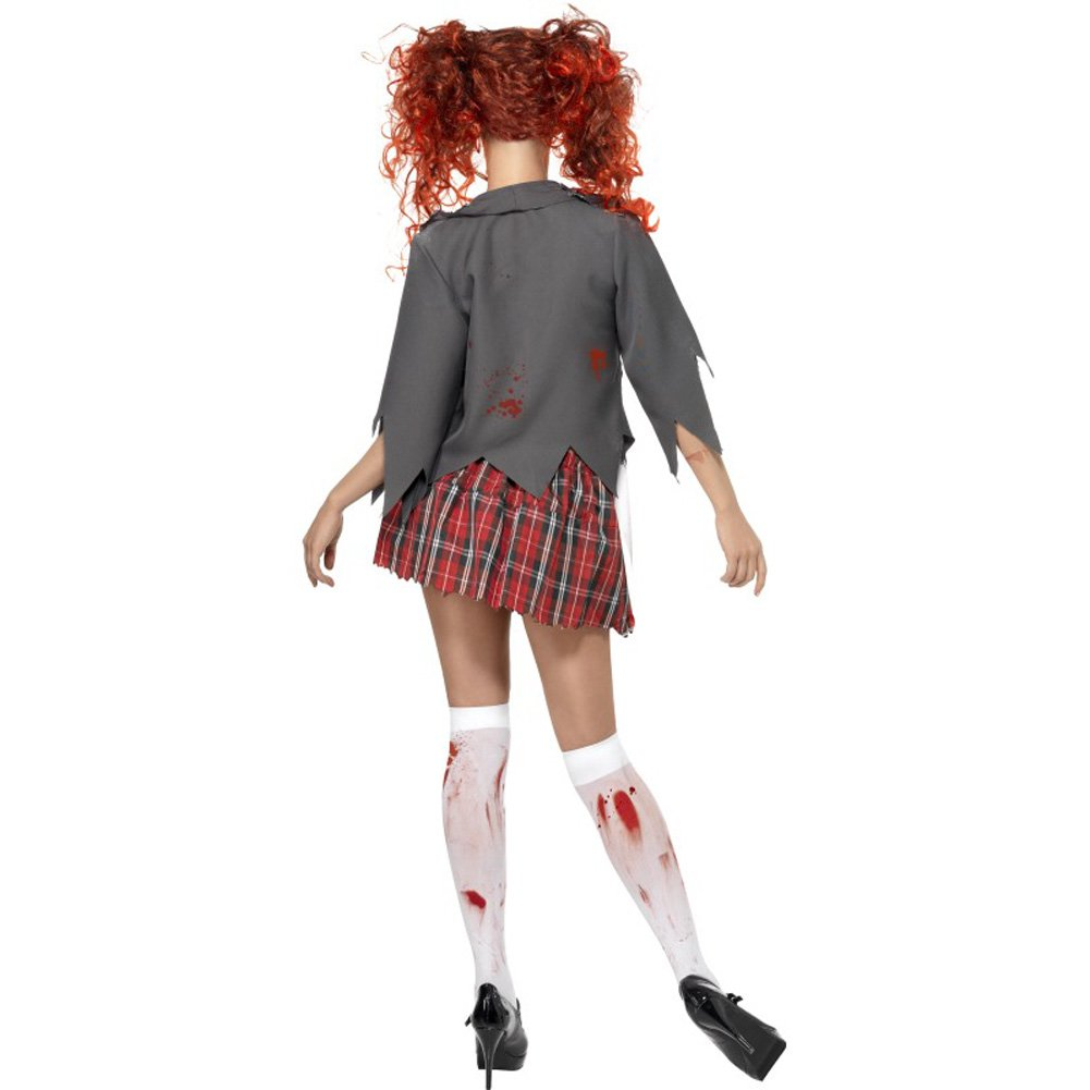 Smiffys High School Horror Zombie Schoolgirl Costume Gray/Red/White Large - View #3