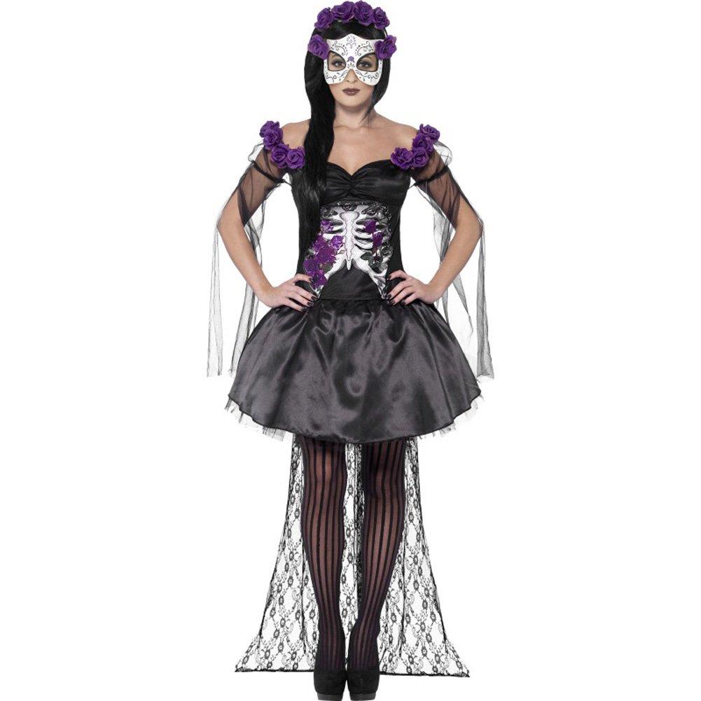 Smiffys Day of the Dead Senorita Costume with Headband and Mask Purple/Black Large - View #1