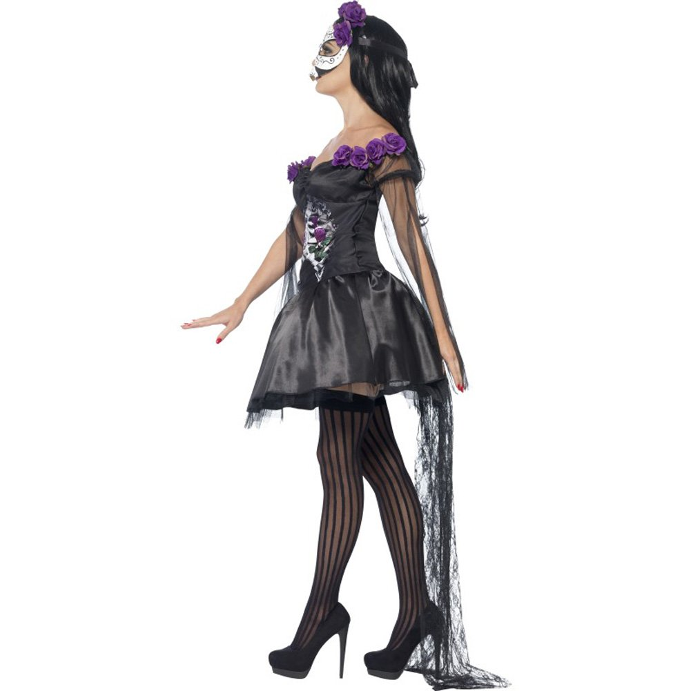 Smiffys Day of the Dead Senorita Costume with Headband and Mask Purple/Black Large - View #3