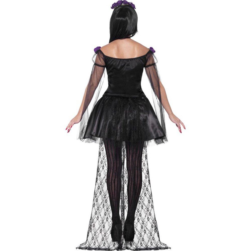 Smiffys Day of the Dead Senorita Costume with Headband and Mask Purple/Black Medium - View #2